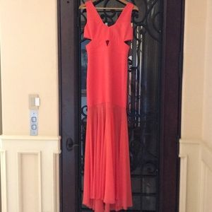 Stunning orange BCBG Maxi Dress with sheer bottom